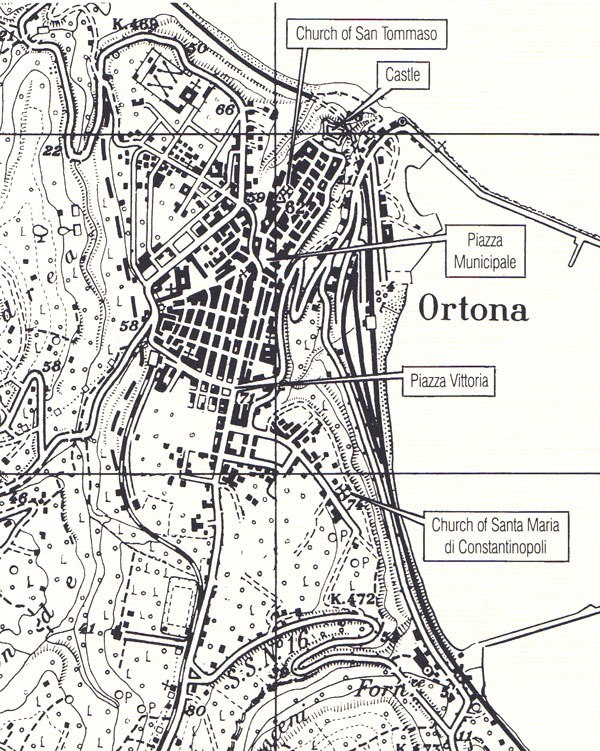 ​План города Ортона Gooderson I. Assimilating Urban Battle Experience: The Canadians at Ortona// Canadian Military Journal, Vol. 8, No. 4. — N/A, 2007 - «Итальянский Сталинград»  | Военно-исторический портал Warspot.ru
