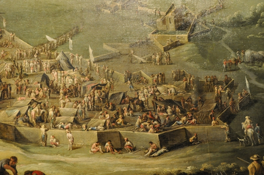 Лагерь у стен осаждённой крепости, картина XVII века
