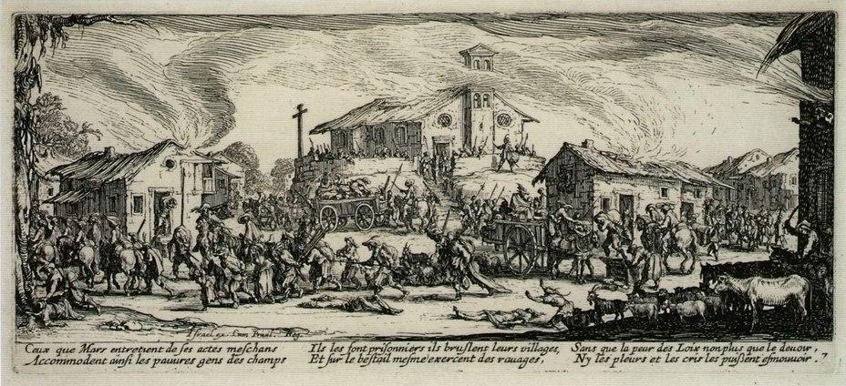 В условиях лишений военной жизни солдатам часто приходилось восполнять необходимые припасы за счёт грабежа гражданского населения. На гравюре XVII века изображена типичная сцена разграбления деревни
