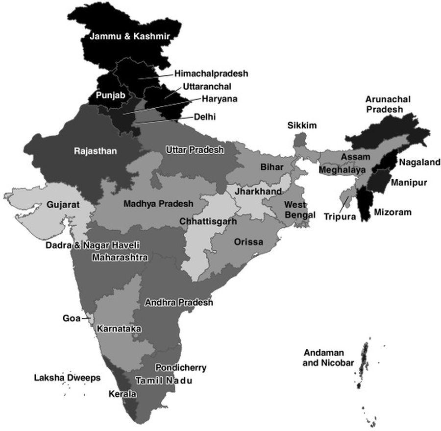 Карта комплектования индийской армии по штатам. Чем темнее штат на карте, тем больший процент его мужского боеспособного населения служит в армии