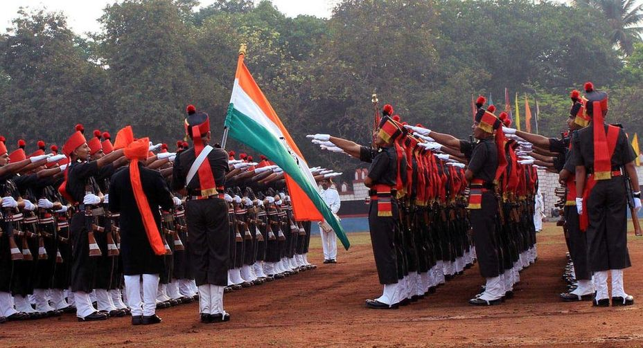 Присяга новобранцев полка Маратхской лёгкой пехоты, 2016 год