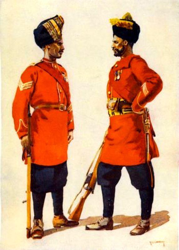 Солдаты 6-го полка джатской лёгкой пехоты, конец XIX века