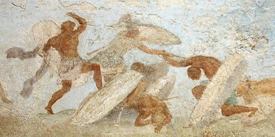 Римский воин сражается с галлами, фреска из погребального склепа на Эсквилинском холме в Риме, I век до н.э. Национальный музей, Рим - Битвы кельтов: интерактивный спецпроект Warspot | Warspot.ru