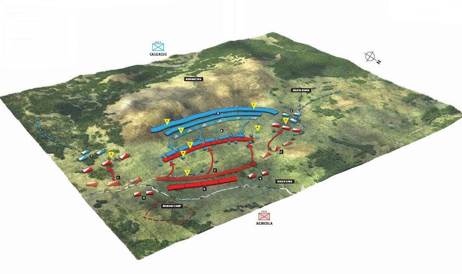 Схема сражения в Граупийских горах - Битвы кельтов: интерактивный спецпроект Warspot | Warspot.ru