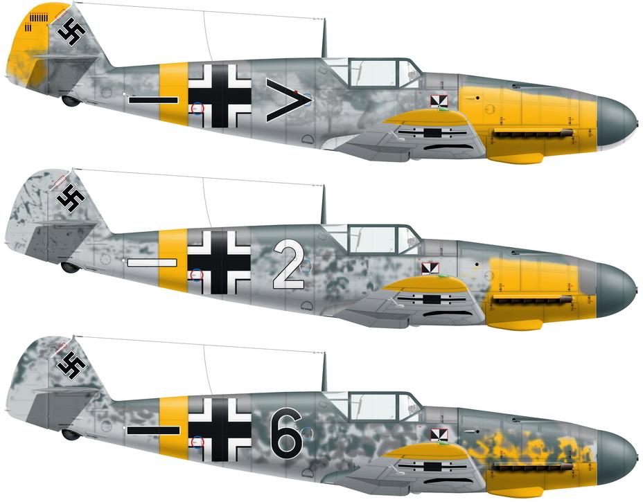 Истребители Bf109F-1/2 из штаба, 4-й и 5-й эскадрилий авиагруппы II./JG 3, лето 1941 года (художник А. Казаков) - «Братские могилы» над Житомиром | Военно-исторический портал Warspot.ru