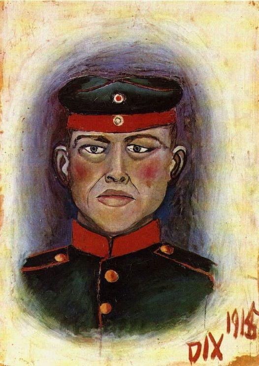 «Автопортрет мишени», 1915 год. Отто Дикс перед отправкой на фронт. Источник: wikiart.org