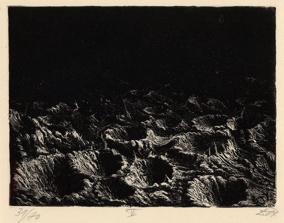 «Изрытое воронками поле у Донтриена во вспышках осветительных снарядов»