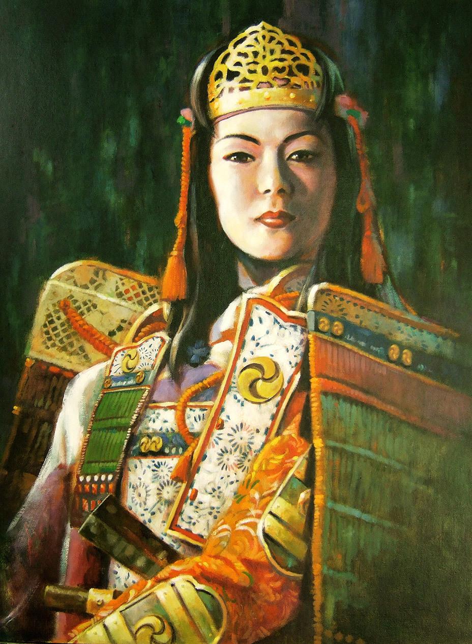 Самая известная японская воительница Томоэ-годзен прославилась в войне Гэмпэй (1180–1185). Вот как описывает её «Повесть о доме Тайра»: «…белолица, с длинными волосами, писаная красавица! Была она искусным стрелком из лука, славной воительницей, одна равна тысяче! Верхом ли, в пешем ли строю – с оружием в руках не страшилась она ни демонов, ни богов, отважно скакала на самом резвом коне, спускалась в любую пропасть, а когда начиналась битва, надевала тяжелый боевой панцирь, опоясывалась мечом, брала в руки мощный лук и вступала в бой в числе первых, как самый храбрый, доблестный воин! Не раз гремела слава о ее подвигах, никто не мог сравниться с нею в отваге…» Художник – Ким Фудзивара. asahi.com
