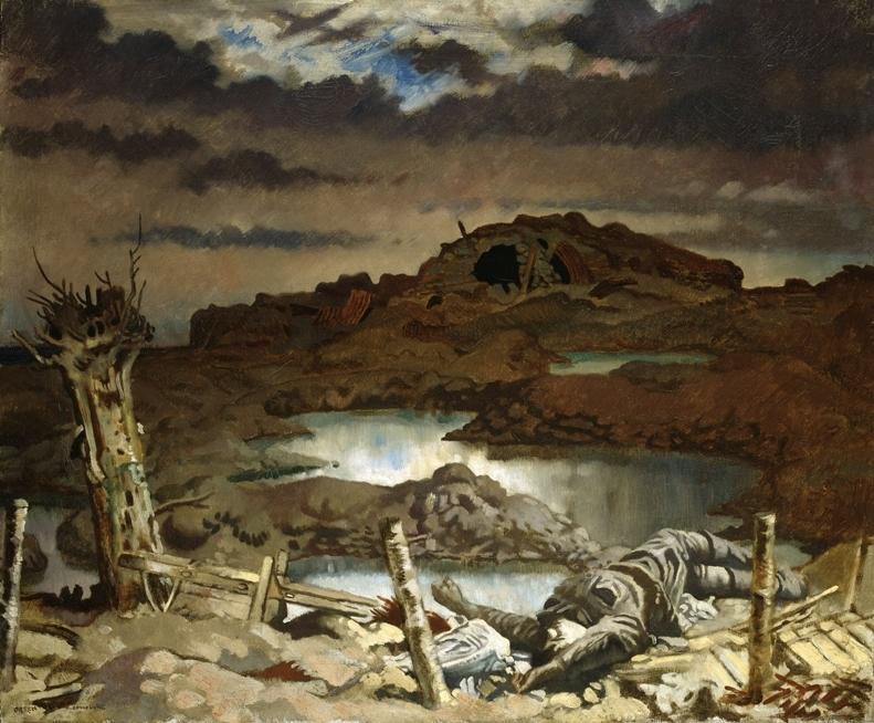 «Зоннебеке». Картина в нехарактерном для Орпена стиле, заставляющая вспомнить страшные фронтовые пейзажи Пола Нэша