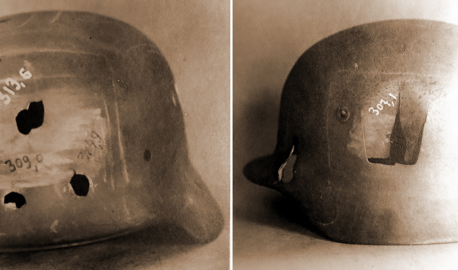 Немецкие шлемы с засчитанными пробитиями (РГАЭ)