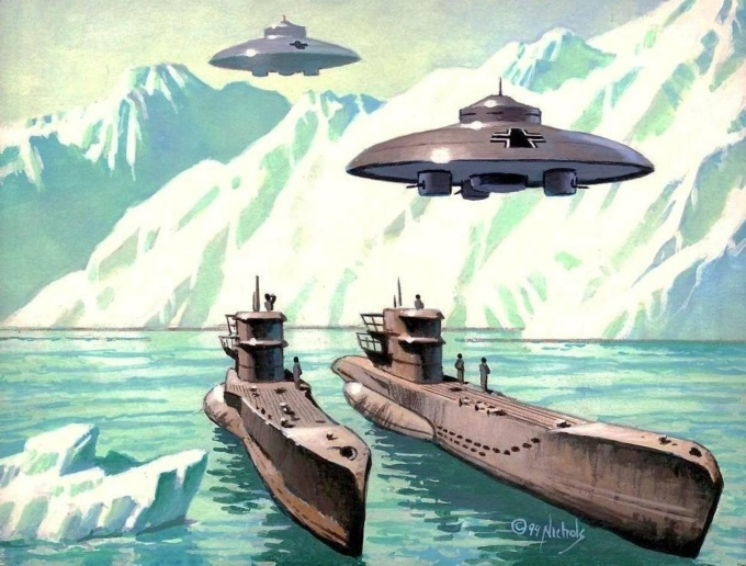 Еще один известный рисунок-фантазия на антарктическую тему: лодки VII серии из «конвоя фюрера» вместе с немецкими НЛО в Антарктиде (http://myth.greyfalcon.us)