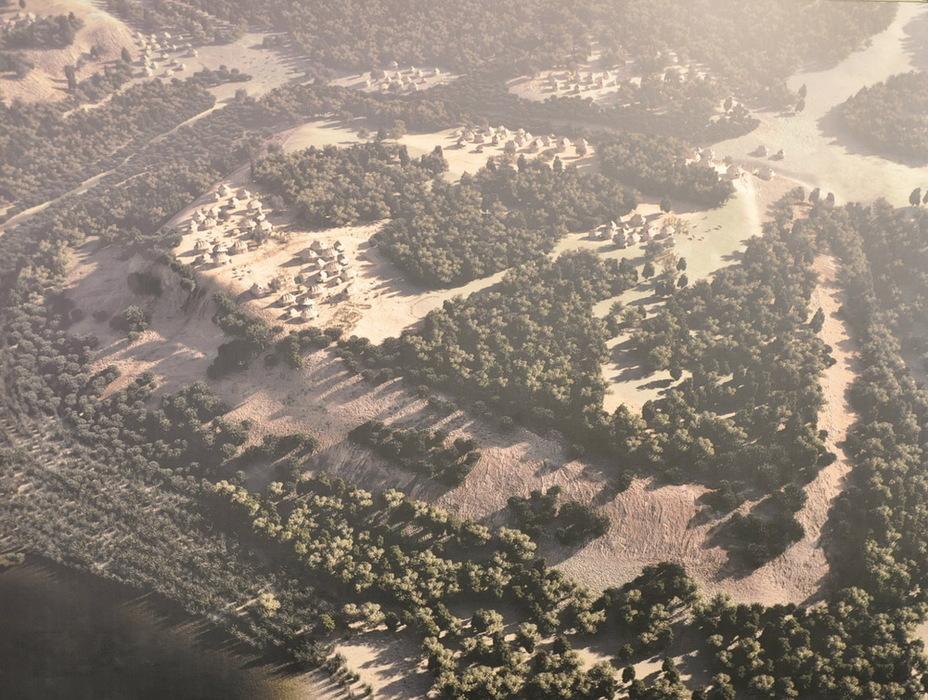 Поселение на Палатине в середине VIII века до н.э. При раскопках археологи обнаружили на вершине холма следы глинобитных хижин, крытых деревом и соломой, а у его подножия — остатки стены. Эти находки позволяют вычленить крупицы истины в легендарном предании о Ромуле. Плакат в Капитолийском музее, Рим