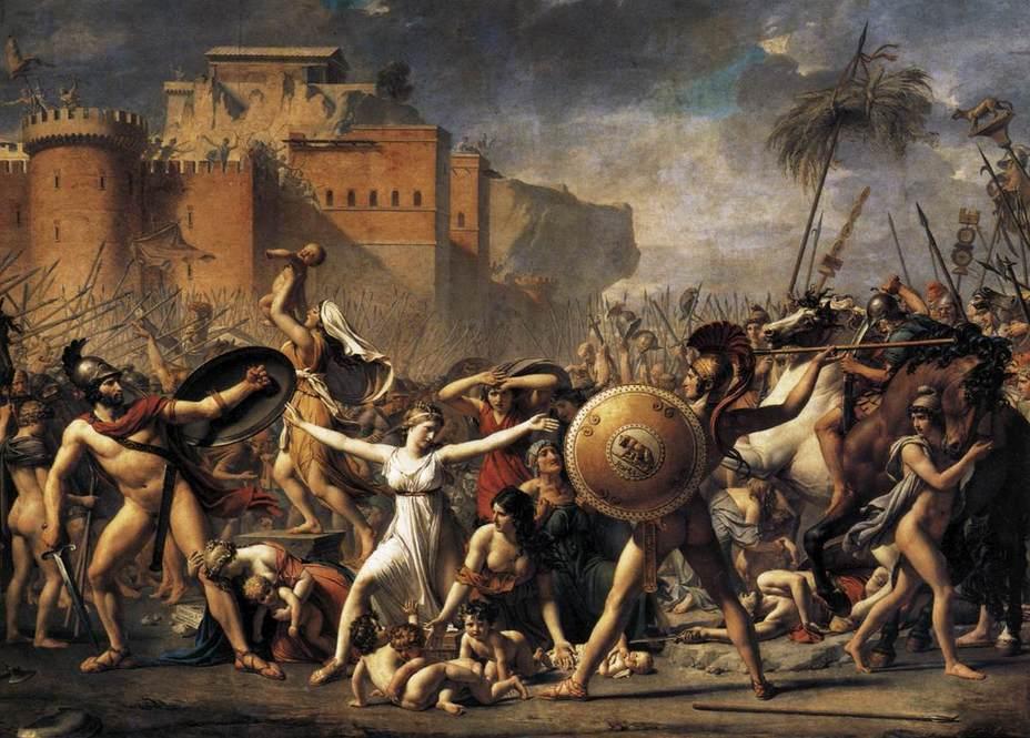 Сабинянки, останавливающие сражение между римлянами и сабинянами. Художник Жак-Луи Давид, 1799 год
