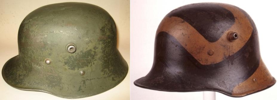 Стальной шлем образца 1916 года: австрийский (слева) и немецкий (справа). - От «пикельхаубе» к «штальхельму» | Warspot.ru