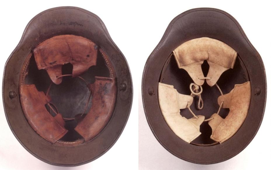Вид на внутреннюю часть шлема образца 1916 года (слева) и образца 1917 года (справа). - От «пикельхаубе» к «штальхельму» | Warspot.ru
