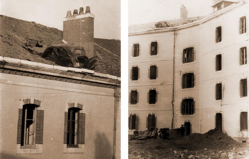 Автомобиль «Ситроен», оказавшийся на крыше здания после бомбёжки. Сен-Назер, 1943 год. http://dubm.de - Das Boot — правда и вымысел   Военно-исторический портал Warspot.ru