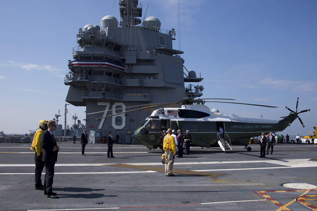 ​Президент США Дональд Трамп на палубе авианосца USS Gerald R. Ford. cbsnews.com - Топ-15 новостей прошедшего года | Военно-исторический портал Warspot.ru