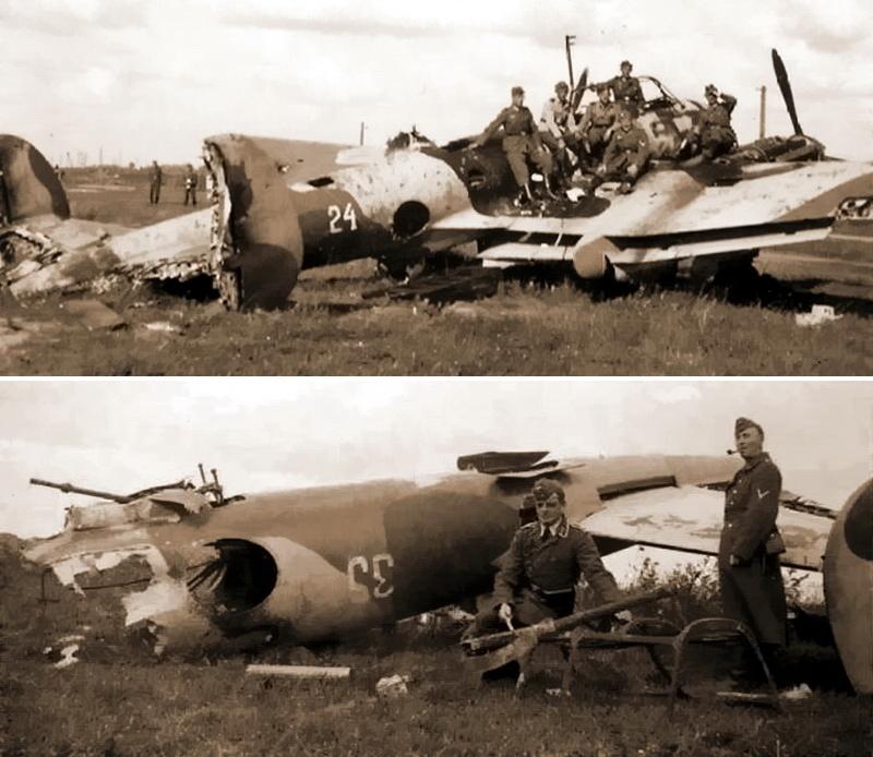 Бомбардировщики Пе-2 из 410-го БАП, уничтоженные авиацией противника на аэродроме Витебск 5 июля 1941 года. Самолёты окрашены в экспериментальный трёхцветный камуфляж и несут схему расположения опознавательных знаков в четырёх позициях, утверждённую 20 июня 1941 года. По фото известны белые тактические номера небольшого размера №24, 27, 29, 33, 35 и 44, которые наносили на фюзеляж. В этом полку также использовали сквозную числовую систему нумерации - Тяжёлое испытание для испытателей | Военно-исторический портал Warspot.ru