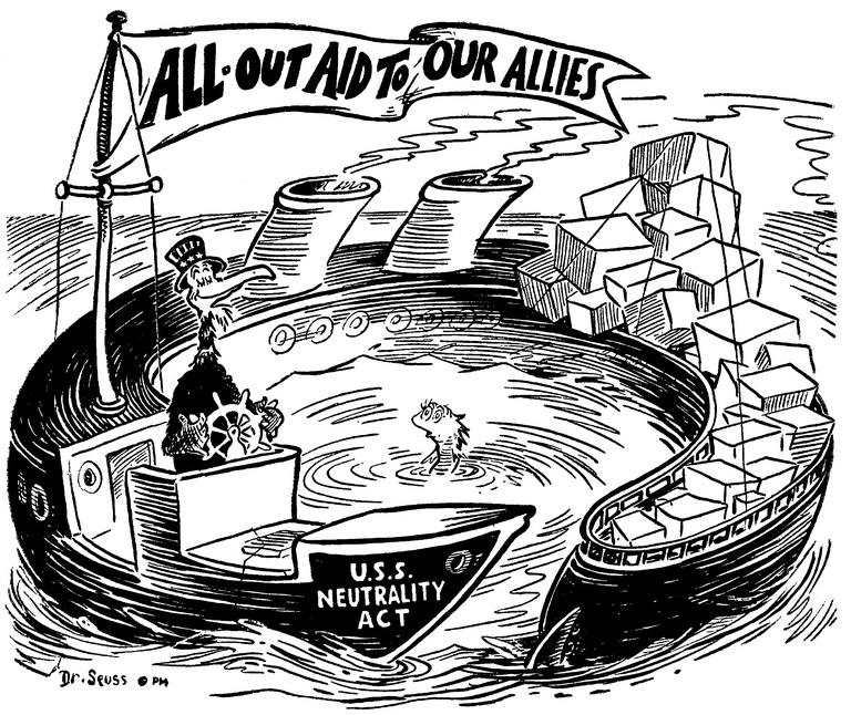 «Вся помощь нашим союзникам». Карикатура от 10 октября 1941 года: американский орёл самозабвенно плывёт на судне под названием «Акт о нейтралитете США»