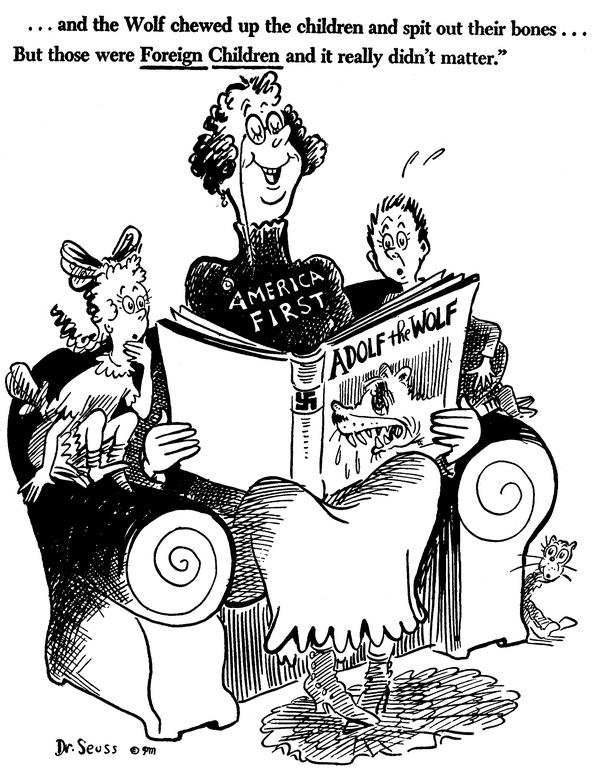 «…И волк сожрал детей и выплюнул их кости… Но это были иностранные дети, потому это не имеет особого значения». Карикатура от 10 октября 1941 года: Америка читает детям книжку под названием «Волк Адольф»