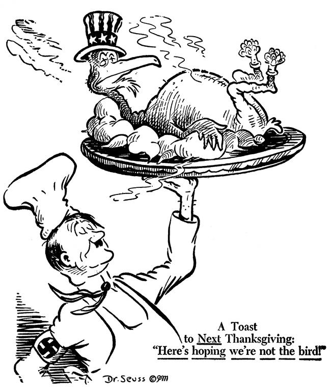 «Тост на следующий День Благодарения: «Надеюсь, мы не птица!» Карикатура от 20 ноября 1941 года: Гитлер и запечённый американский орёл вместо индейки