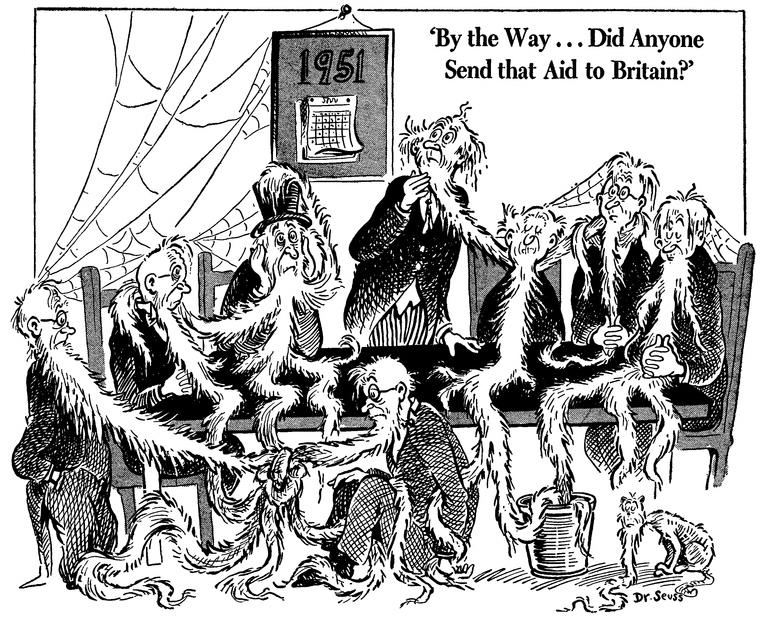 «Кстати, кто-нибудь отправил помощь Британии?» Карикатура от 10 июня 1941 года: на календаре 1951 год, а заросшие бородой конгрессмены решают вопрос о помощи союзникам