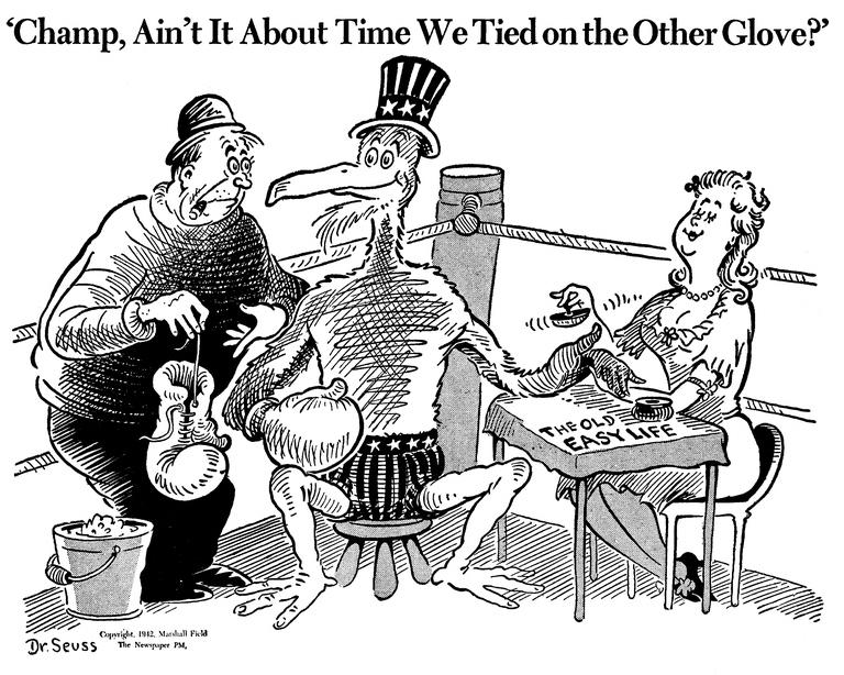 «Чемп, разве не время надеть перчатки?» Карикатура от 19 января 1942 года: американский орёл в углу ринга занят полировкой ногтей на столике под названием «прежняя беззаботная жизнь»