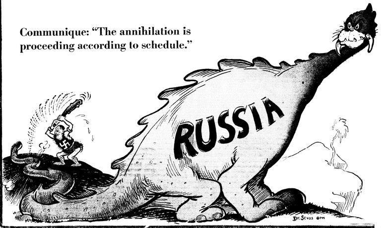 «Уничтожение идёт по графику» Карикатура от 6 августа 1941 года: Гитлер в роли пещерного человека бьёт по хвосту русского динозавра, который только начинает сердиться
