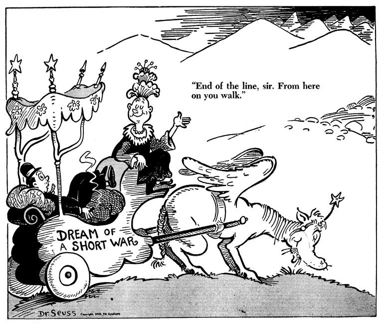 «Конец пути, сэр — отсюда только пешком». Карикатура от 7 июля 1942 года: американцы прощаются с мечтами о короткой войне