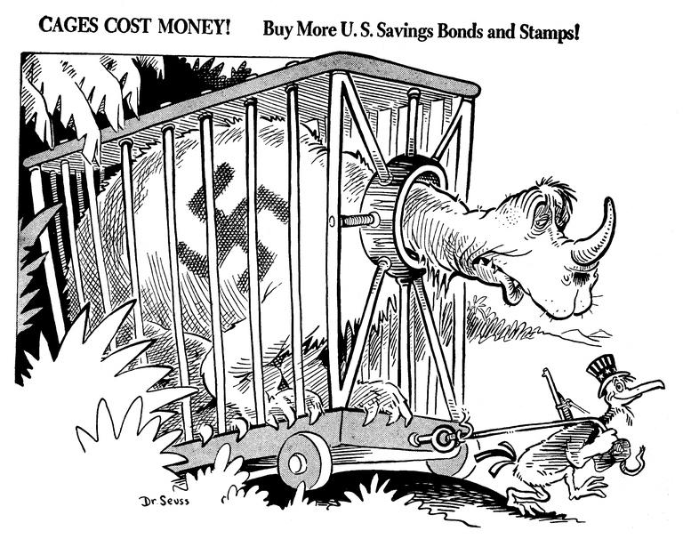 «Клетки стоят денег!» Карикатура от 15 декабря 1941 года: США вступили в войну, и граждан агитируют покупать облигации военного займа