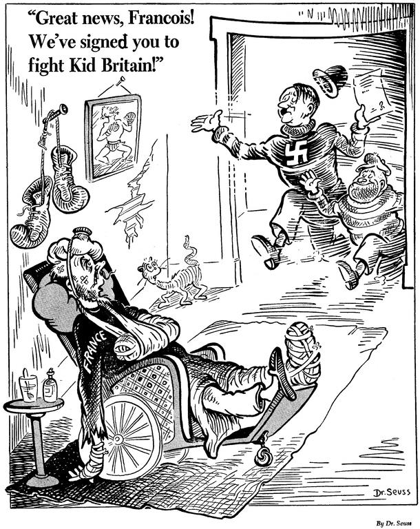 «Прекрасная новость, Франсуа! Мы записали тебя на поединок с британским парнем!» Карикатура от 6 июня 1941 года: Гитлер и Муссолини втягивают едва живую Францию в войну на стороне Оси