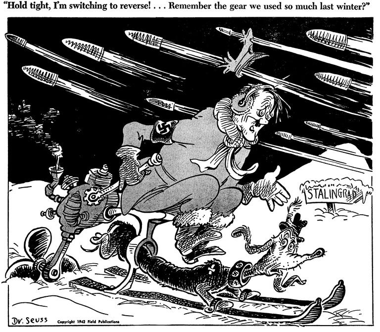 «Держись крепче, я даю задний ход! Помнишь передачу, которую мы использовали прошлой зимой?» Карикатура от 24 ноября 1942 года: началось советское контрнаступление под Сталинградом