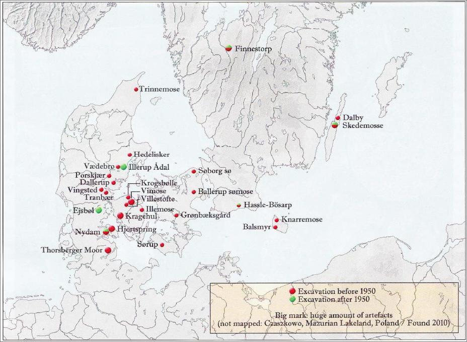 Карта распространения болотных кладов с оружием железного века - Скандинавские болотные клады оружия | Военно-исторический портал Warspot.ru