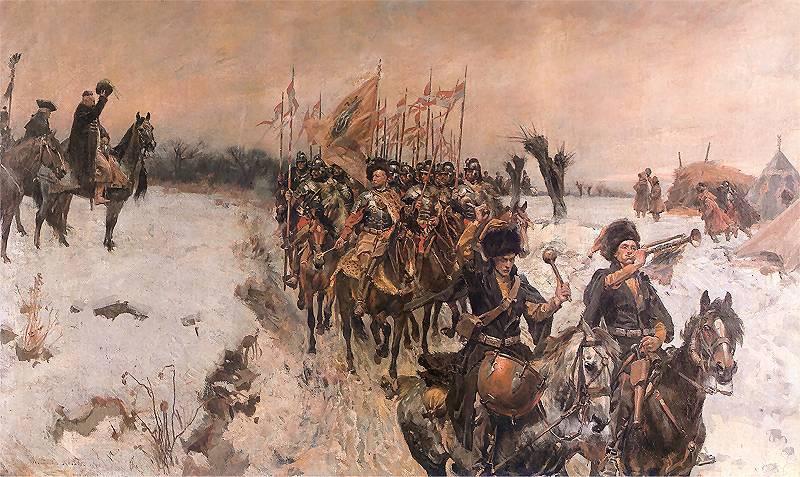 Хоругвь на марше. Картина Войцеха Коссака
