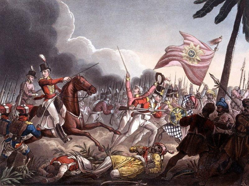 Мадрасские сипаи с герцогом Веллингтоном в битве при Ассай, 1803 год