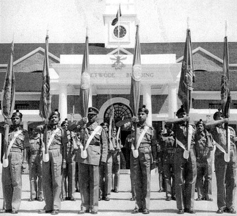 Церемония получения боевого знамени 9-м батальоном Мадрасского полка, 1956 год