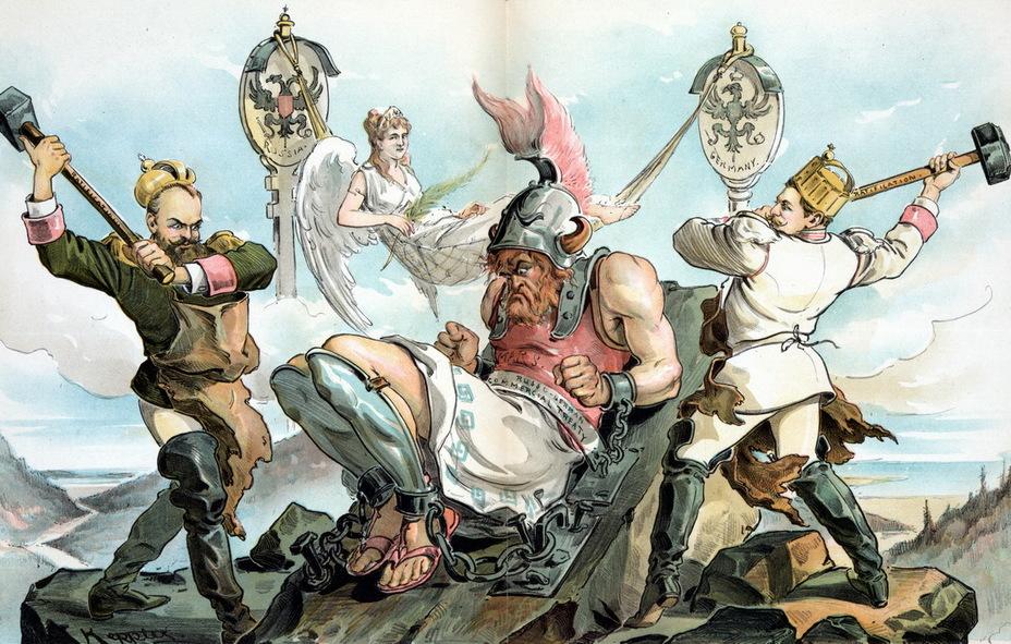 «Прикован!» Рисунок изображает римского бога Марса, которого с помощью молотов с надписью «Ратификация» император Александр III и кайзер Вильгельм II приковывают к скале кандалами с надписью «Русско-германский торговый договор». На заднем плане женская фигура с надписью «Мир» возлежит в гамаке, натянутом между штандартами двух стран. Заключённый сроком на 10 лет договор остановил многолетнюю войну таможенных пошлин между двумя государствами (4 апреля 1894 года) - Весёлые картинки Warspot: Российская империя глазами американских карикатуристов | Warspot.ru