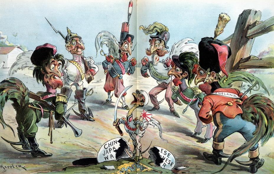 «Обновление в старом курятнике». Рисунок изображает старых «боевых петухов» Россию, Германию, Францию, Австрию, Италию и Англию, стоящих вокруг японского цыплёнка, вылупившегося из яйца с надписью «японо-китайская война» и попирающего китайский флаг. Каждый думает, кому придётся сразиться с новичком первым (17 апреля 1895 года) - Весёлые картинки Warspot: Российская империя глазами американских карикатуристов | Warspot.ru