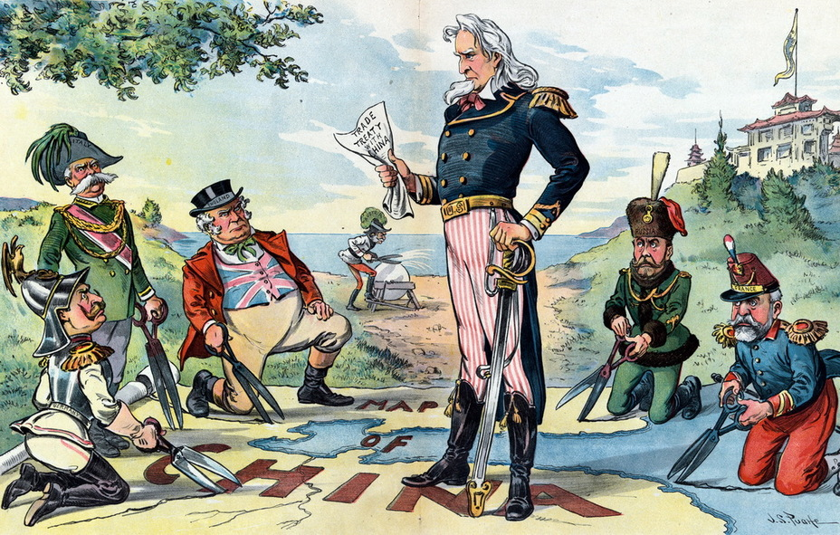 «Поставив ногу». Дядя Сэм, стоя на карте в угрожающей позе, держит в руках «Договор о торговле с Китаем». Кайзер Вильгельм II (Германия), король Умберто I (Италия), символический Джон Булль (Англия), император Николай II (Россия) и президент Эмиль Лубе (Франция) с большими ножницами приготовились кроить карту по своему усмотрению, пока император Франц-Иосиф I (Австро-Венгрия) точит ножницы на шлифовальном камне (23 августа 1899 года) - Весёлые картинки Warspot: Российская империя глазами американских карикатуристов | Warspot.ru