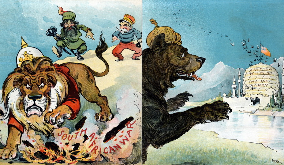 Слева: «Заманчивая возможность». Британский лев пытается потушить костёр с надписью «Война в Южной Африке», пока Россия и Франция с клещами в руках примеряются, как ловчее схватить его за хвост, и кому это делать первым. Трактовка действий англичан представляется несколько спорной (15 ноября 1899 года). Справа: «Осторожность московитов». Русский медведь настороженно глядит на большой улей с надписью «Британский улей с мёдом. Герат», стоящий за крепостной стеной с минаретами. Великобритания и Россия совместно определяли границу Афганистана, и находящийся на его севере Герат был камнем преткновения (21 марта 1900 года) - Весёлые картинки Warspot: Российская империя глазами американских карикатуристов | Warspot.ru