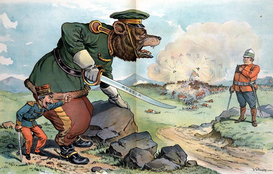 «Безрассудный вызов». Франция грозит натравить русского медведя на английского Джона Булля, в то время как на заднем плане бушует сражение с надписью «Трансвааль» (6 июня 1900 года) - Весёлые картинки Warspot: Российская империя глазами американских карикатуристов | Warspot.ru