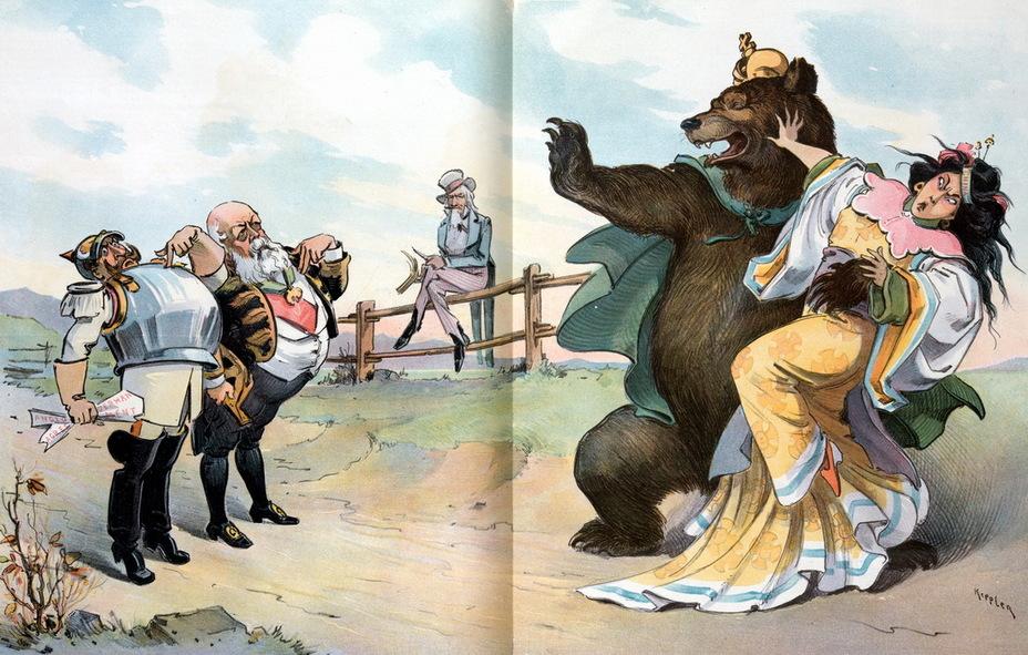 «Слишком много желающих». Китай вырывается из лап русского медведя, в то время как Германия и Англия умоляют Россию не быть столь жадной и поделиться с ними. Дядя Сэм сидит на заборе, заняв выжидательную позицию. Эта и ряд последующих карикатур посвящены подавлению восстания ихэтуаней и дележу китайских территорий и репараций (5 декабря 1900 года) - Весёлые картинки Warspot: Российская империя глазами американских карикатуристов | Warspot.ru