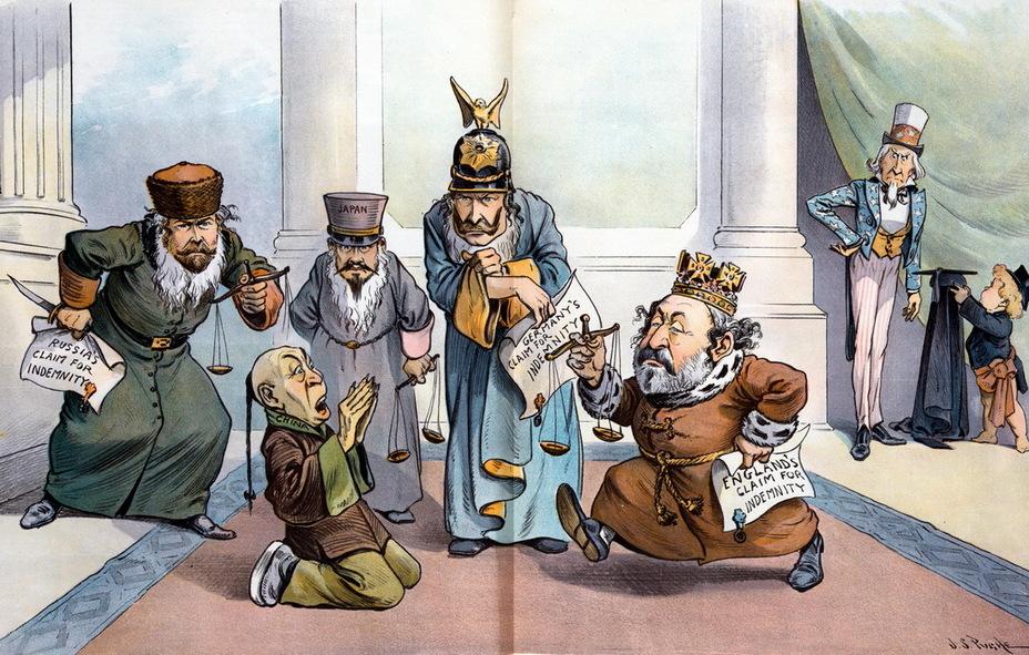 «Слишком много шейлоков». Россия, Япония, Германия и Великобритания в еврейских халатах, с весами и векселями наседают на Китай с требованиями уплатить по счетам. На заднем плане дядя Сэм одевает судейскую мантию, собираясь вмешаться (Шейлок – персонаж Шекспира, еврейский ростовщик) (27 марта 1901 года) - Весёлые картинки Warspot: Российская империя глазами американских карикатуристов | Warspot.ru