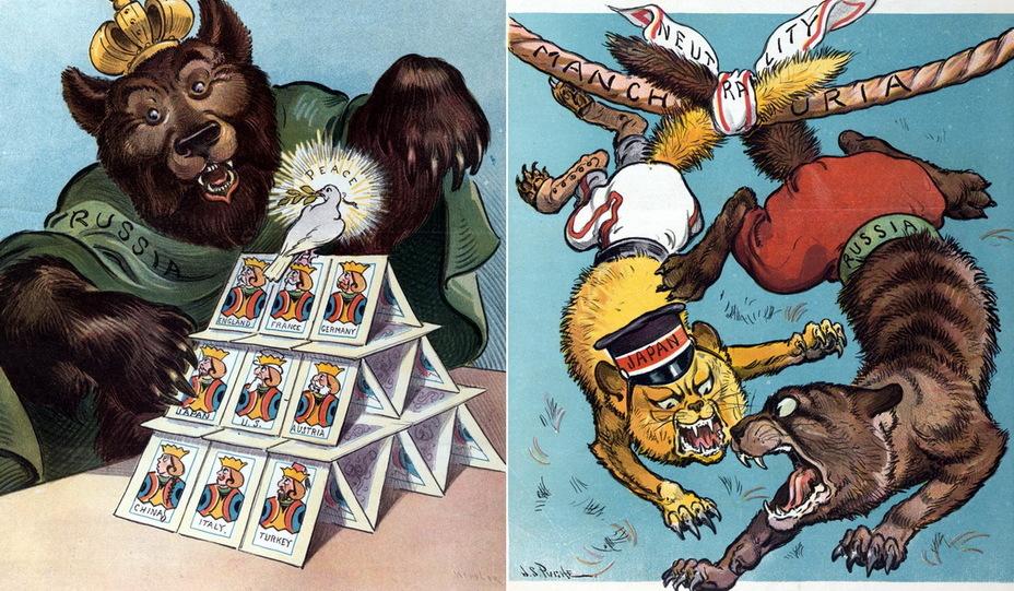 Слева: «Карточный домик». Русский медведь вот-вот сломает хрупкую конструкцию, на которой сидит голубь мира. Карты с монархами и президентами изображают Англию, Францию, Германию, Японию, США, Австрию, Китай, Италию и Турцию. Когти медведя касаются карты с надписью «Япония» (20 января 1904 года). Справа: «Восточный Килкенни». Два кота, Япония и Россия, привязаны к верёвке с надписью «Маньчжурия» платком с надписью «Нейтралитет». Коты из Килкенни – персонажи британского фольклора, жившие в британской и ирландской частях города, известные непримиримой враждой (16 марта 1904 года) - Весёлые картинки Warspot: Российская империя глазами американских карикатуристов | Warspot.ru