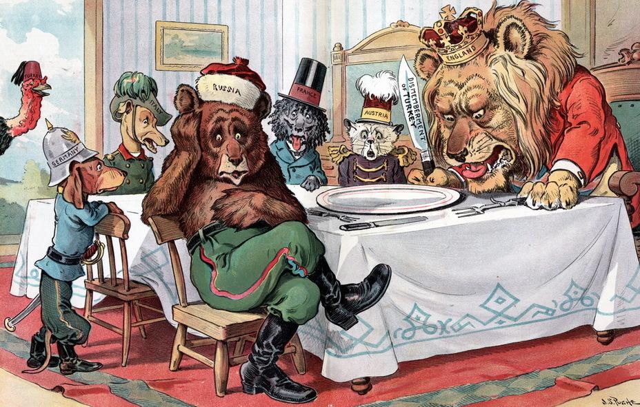 «Пустая тарелка». Британский лев, русский медведь, австро-венгерский кот и собаки Франция, Италия и Германия собрались вокруг стола на ужин. Лев держит в руках нож с надписью «Расчленение Турции», но блюдо пусто. Сбежавшая турецкая индейка смеётся за дверью (25 ноября 1903 года) - Весёлые картинки Warspot: Российская империя глазами американских карикатуристов | Warspot.ru