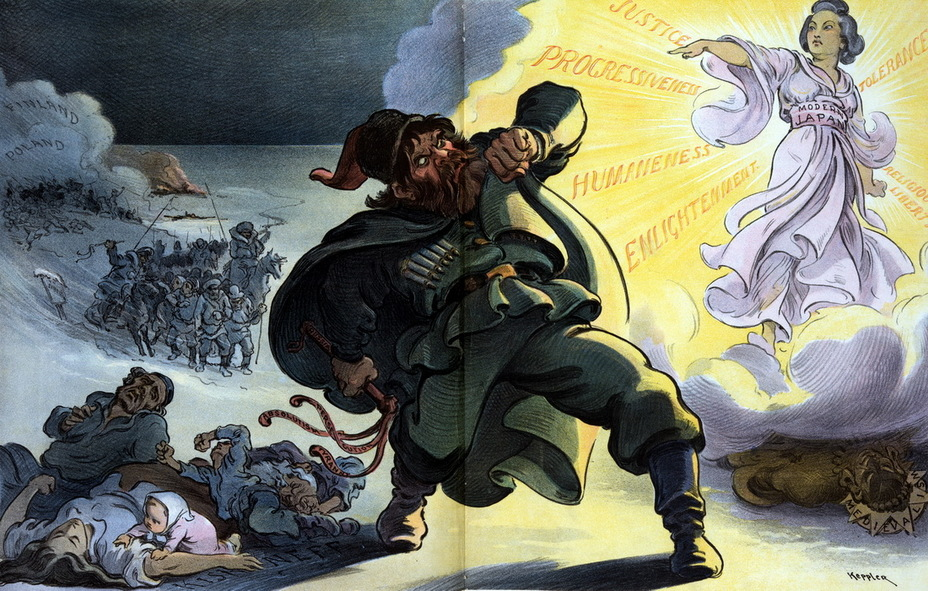 «Жёлтая опасность». Россия машет плетью-семихвосткой, подписанной «Абсолютизм, преследования, тирания». На земле жертвы еврейского погрома 1903 года в Кишинёве, на заднем плане кандальники, бредущие в Сибирь, и мрачные тучи над Финляндией и Польшей. Россия защищает глаза от света, в котором сияет «Современная Япония», окружённая лучами справедливости, прогрессивности, гуманности, просвещения, терпимости и религиозных свобод. Средневековая Япония лежит поверженная на земле (23 марта 1904 года) - Весёлые картинки Warspot: Российская империя глазами американских карикатуристов | Warspot.ru