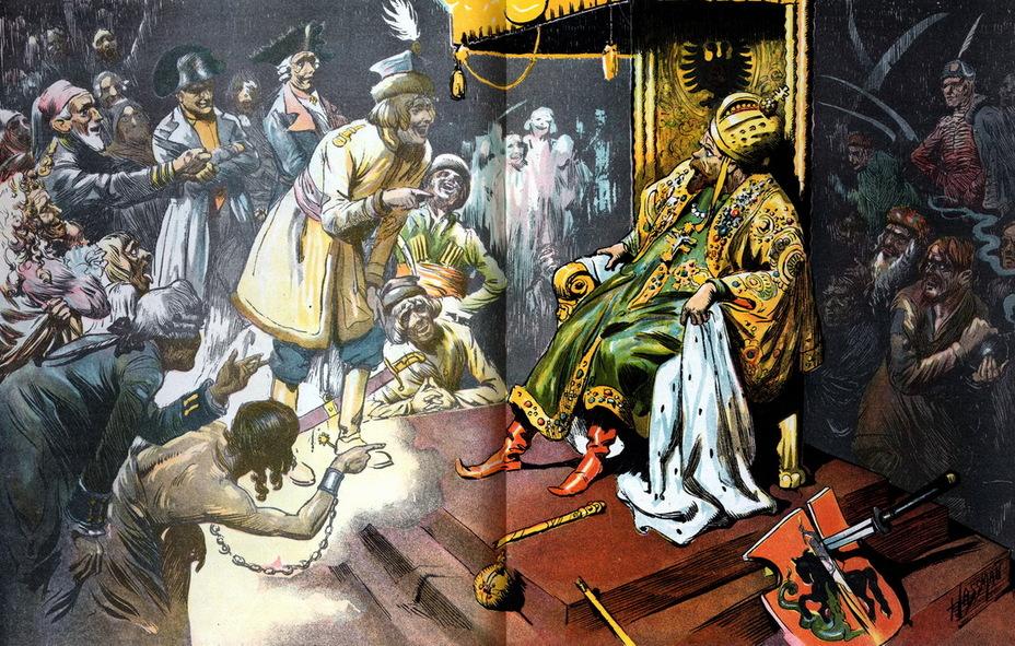 «Самый плохой монарх». Николай II сидит на троне, уронив скипетр и державу. Его окружают смеющиеся над царём призраки побеждённых русскими в былые времена народов – поляки, венгры, турки, французы, пруссаки и прочие. Справа лежит щит с московским гербом, расколотый японским мечом (9 августа 1905 года) - Весёлые картинки Warspot: Российская империя глазами американских карикатуристов | Warspot.ru