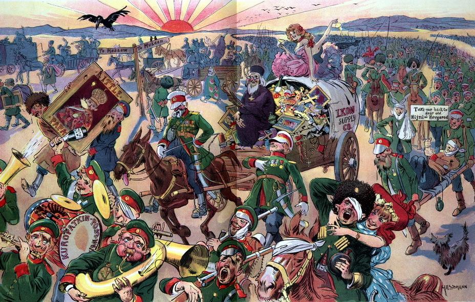 «Дом, милый дом!» Разбитая, но счастливая русская армия возвращается домой после окончания войны с Японией. На горизонте восходит японское солнце (20 сентября 1905 года) - Весёлые картинки Warspot: Российская империя глазами американских карикатуристов | Warspot.ru