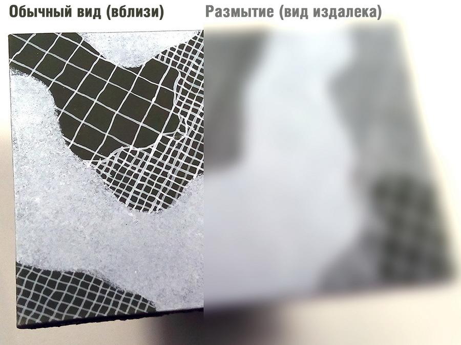 Небольшое «лирическое отступление». Об этом говорилось чуть выше: на крупном плане слева внизу можно увидеть геометрические искажения на сетке, а справа наблюдать эффект размытия сетки и превращения пятен в серые и тёмно-серые, а всего камуфляжа — в трёхцветный - Белые танки Красной армии: «зима в масштабе» | Warspot.ru