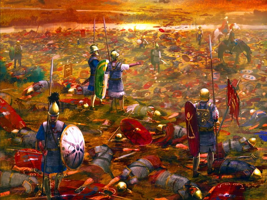 Карфагенские воины бродят по полю битвы, усеянному телами погибших римских легионеров. Несмотря на многие победы Карфагена, в итоге «поле боя» осталось за Римом - От тартессийцев до римлян   Warspot.ru